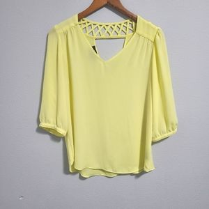 Bcx sheer yellow womens size m blouse